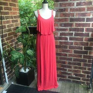 C Orange Maxi Sleeveless Dress Size M